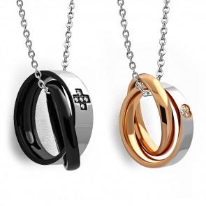 Fekete és aranyszínű, összefonódó dupla gyűrűs nemesacél medál, cirkónia kristállyal