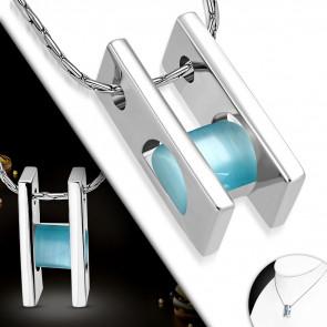 KÁLA- Ezüst színű nyaklánc, TÜRKIZ cirkónia kristályos medállal
