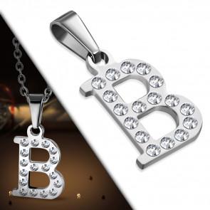 """Ezüst színű, """"B"""" betű nemesacél medál, cirkónia kristállyal"""