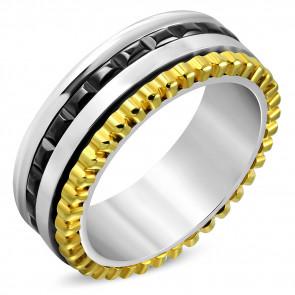 Fekete, arany és ezüst színű nemesacél gyűrű