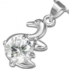 Ezüst színű nyaklánc, hattyú formájú cirkónia kristályos medállal