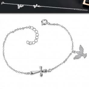 Ezüst színű karkötő, kereszt és béke galamb alakú dísszel, cirkónia kristállyal