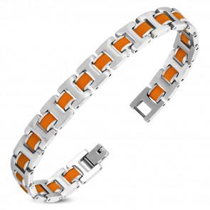Ezüst színű nemesacél karlánc, narancssárga színű kaucsuk dísszel