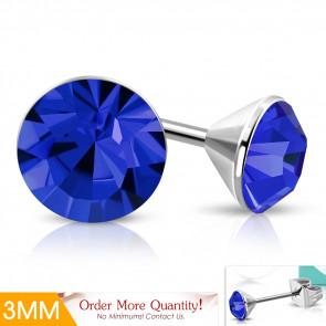 ULTRA Mini - király kék  színű kristályos pont nemesacél fülbevaló ékszer