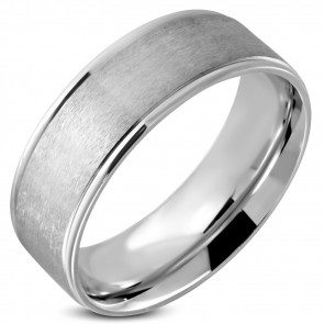 Matt felületű, ezüst színű nemesacél gyűrű ékszer