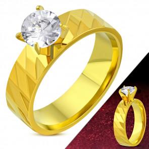 ÉTA - Arany színű mintás nemesacél gyűrű ékszer cirkónia kristállyal-5