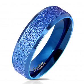 Kék színű, homokfújt nemesacél gyűrű