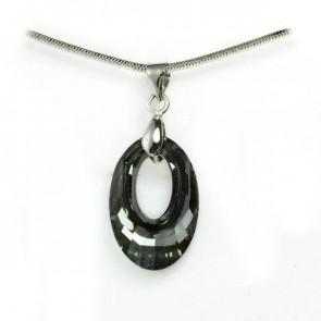 Swarovski® kristályos ezüst nyaklánc - 20 mm - Helios - Silver Night - 925 ezüst ékszer
