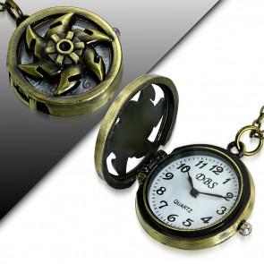 Vintage stílusú nyaklánc, dobó csillag alakú medál órával
