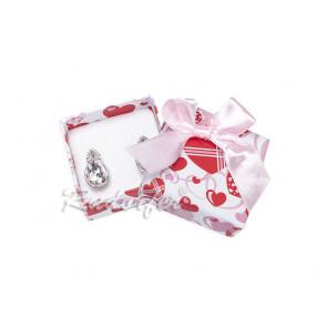 Rózsaszín ékszertartó doboz, masni dísszel