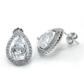 2 karátos ezüst fülbevaló körte alkú szintetikus gyémánt kristállyal - 925 ezüst ékszer