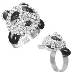 Panda formájú divat gyűrű gyűrű, cirkónia kristállyal