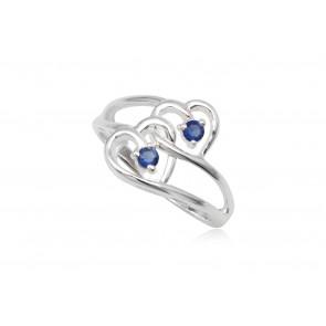 dupla szives ezüst gyűrű sötét kék cirkónia kristállyal