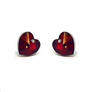 Swarovski kristályos fülbevaló Piros szívben pici szív