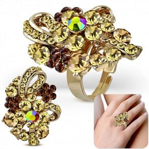 Virág mintás divat gyűrű, cirkónia kristállyal