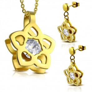 Ezüst színű nemesacél szett, virág alakú medállal és fülbevalóval, cirkónia kristállyal