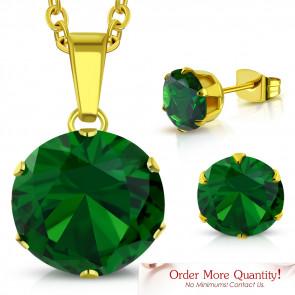 Arany színű nemesacél szett, nyaklánc, medál és fülbevaló, smaragd színű cirkónia kristállyal
