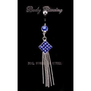 Kék kristályos nemesacél piercing