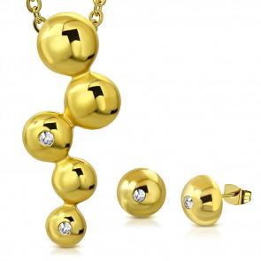 Arany színű nemesacél szett, medállal és fülbevalóval, cirkónia kristállyal