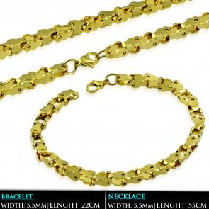 Arany színű, bizánci stílusú nemesacél nyaklánc - karlánc szett