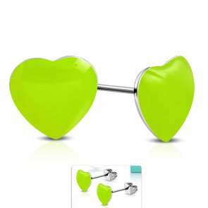Zöld színű, szív alakú nemesacél fülbevaló