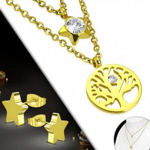 Arany színű nemesacél szett, nyaklánc, fülbevaló és dupla medál, cirkónia kristállyal