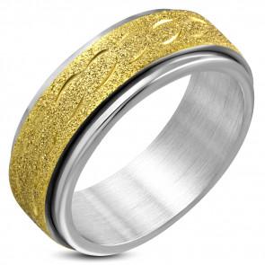 Arany és ezüst színű, középen forgó homokfújt nemesacél gyűrű-9