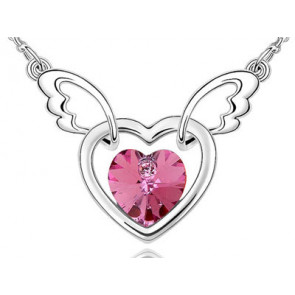 Pink dupla szives swarovski kristályos nyaklánc | Swarovski ékszerek