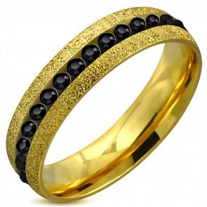 ARANY színű nemesacél gyűrű ékszer, cirkónia kristállyal-11