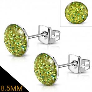 Oliva zöld színű, kristály mintás nemesacél fülbevaló