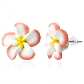 Rózsaszín-fehér-sárga pluméria virág fülbevaló