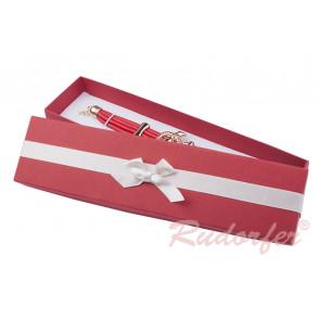 Piros színű, masnis ékszertartó doboz