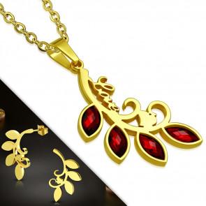 Arany színű nemesacél szett, fürt alakú medállal és fülbevalóval, cirkónia kristállyal