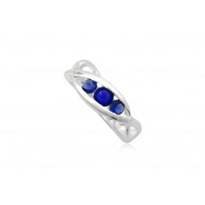 Ezüst gyűrű sötét kék cirkónia kristállyal