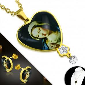 Arany színű nemesacél szett, Szűz Mária mintás medállal és fülbevalóval, cirkónia kristállyal