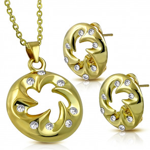 Divatos arany színű szett, medál és fülbevaló, cirkónia kristállyal