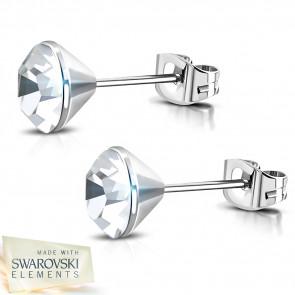 Ezüst színű nemesacél fülbevaló, átlátszó Swarovski kristállyal - 4 mm